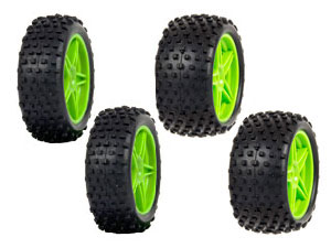 HSP 1/10 Buggy Green Front&Rear Tires Set (4P)