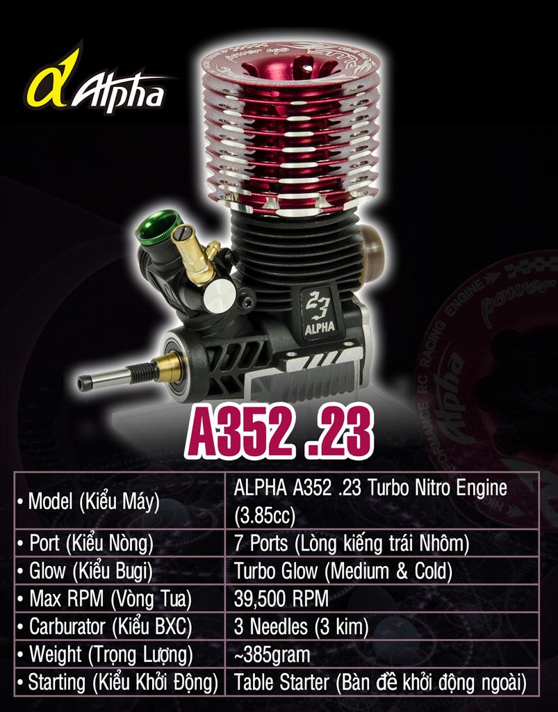 Combo Máy Nitro ALPHA.23 TURBO(3.85cc) siêu mạnh giá 3,600,000đ Alpha_A352-23_Info