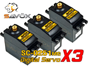 Savox Digital Servo SC-0251MG x 3 con