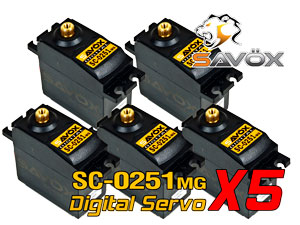Savox Digital Servo SC-0251MG x 5 Con