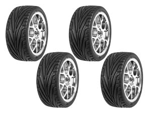 Hongnor 1/8 GT Tires Chrome 8 Spokes (4P)