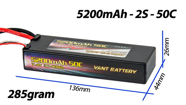 Vant Battery Lipo 5200mAh 50C 2S (7.4V) 008