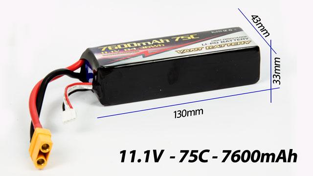 Vant Battery Lipo 7600mAh 75C 3S (11.1V) 005