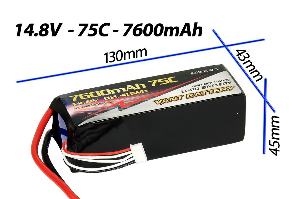 Vant Battery Lipo 7600mAh 75C 4S (14.8V) 005