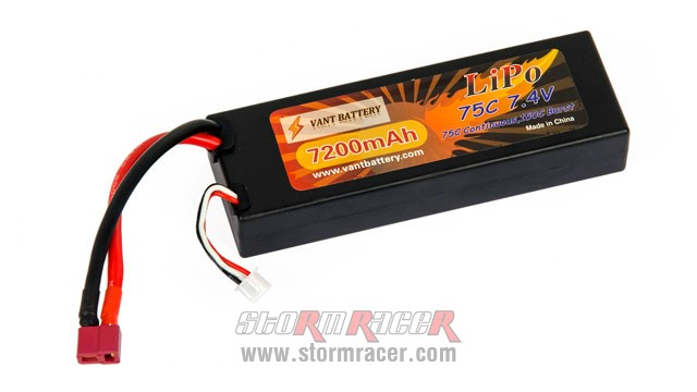 Vant Battery Lipo 7200mAh 75C 2S (7.4V) hard case 001