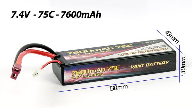 Vant Battery Lipo 7600mAh 75C 2S (7.4V) Hard Case 006