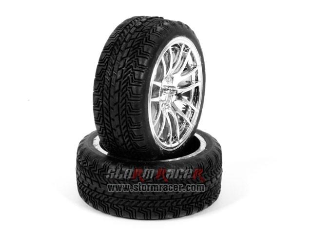 CPV 1/10 Onroad Tires 26mm Chrome Wheel #3826 003