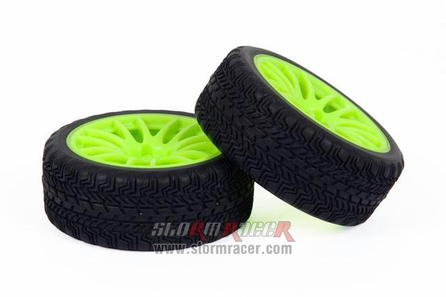 CPV 1/10 Onroad Tires 26mm Green Wheel #3826 003