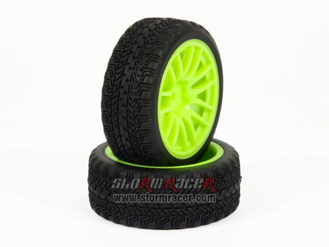 CPV 1/10 Onroad Tires 26mm Green Wheel #3826 004