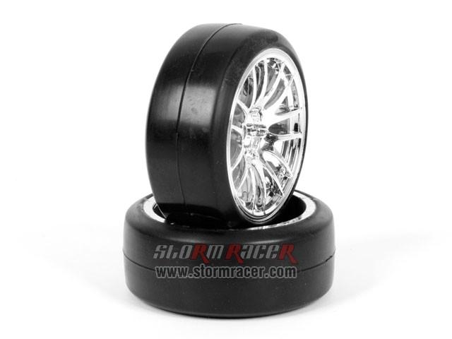 CPV 1/10 Onroad Tires 26mm Slick Chrome #3826 003